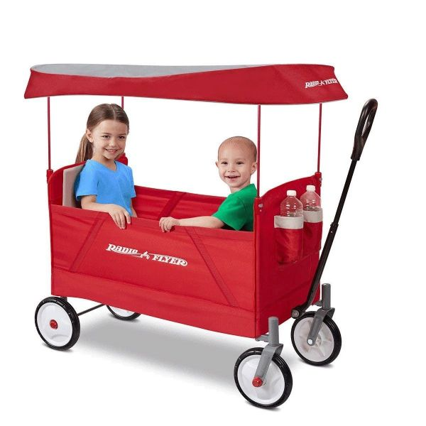 Radio Flyer EZ Folding Ride On Wagon With Canopy